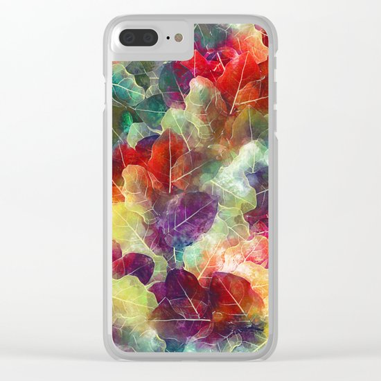 Multicolor Leaves Clear iPhone Case
