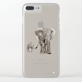 Swirly Elephant Family Clear iPhone Case