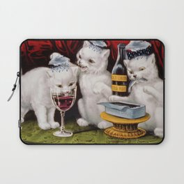 Three Bad Cats ( Tres Gatos Malos) with black clouds that follow them around portrait painting Laptop Sleeve