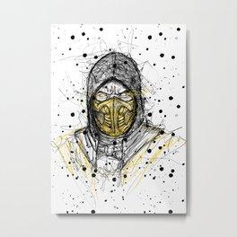 Scribble Scorpion Metal Print