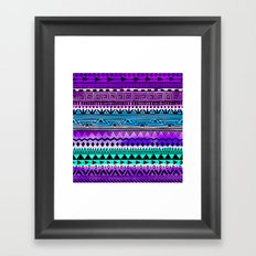 Purple and Teal Tribal Pattern Framed Art Print