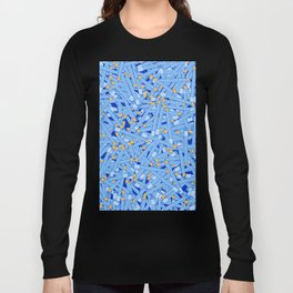 Bedtime Stories BLUE / Cartoon pencil pattern Long Sleeve T-shirt