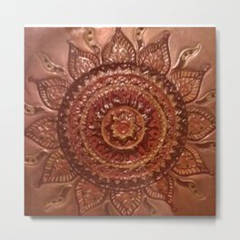 Sun Mandala Tattoo Metal Print