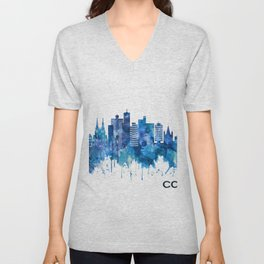 Cologne Germany Skyline Blue Unisex V-Neck