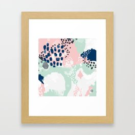 Ostara - minimal abstract painting trendy navy mint and pink pastels acrylic large minimalist Framed Art Print