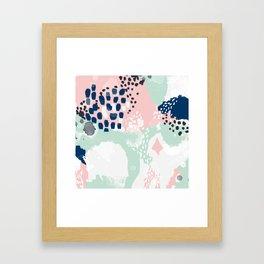 Ostara - minimal abstract painting trendy navy mint and pink pastels acrylic large minimalist Framed Art Print