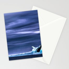 Blue whale breaking surface of ocean Stationery Cards