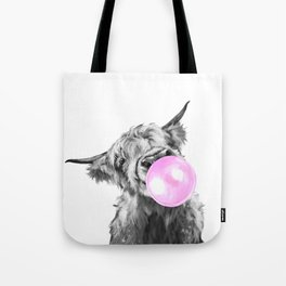 Bubble Gum Highland Cow Black and White Tote Bag