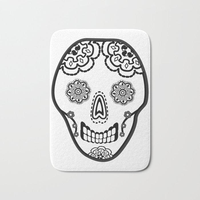 Black and White Sugar Skull (Calavera) Bath Mat