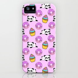 Cute funny Kawaii chibi little playful baby panda bears, happy sweet donuts and adorable yummy cupcakes light pastel pink pattern design. Nursery decor. iPhone Case