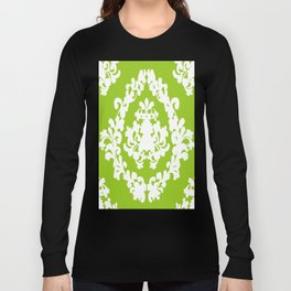 Damask Green and White Victorian Lace Damask Long Sleeve T-shirt