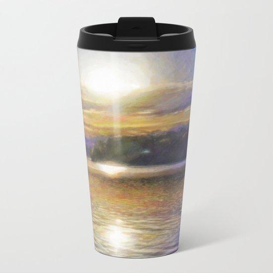 Sun Rising Over Lake - Art Edit Metal Travel Mug
