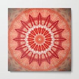Dark Orange Mandala Design Metal Print