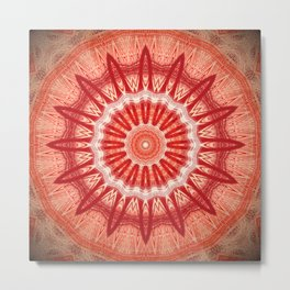 Dark Orange Mandala Design Metal Print
