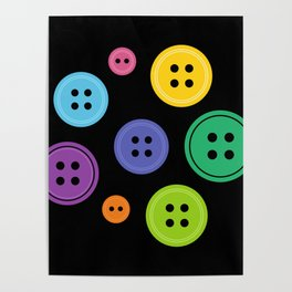 Colorful Rainbow Buttons Poster