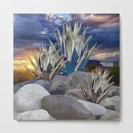 AGAVE CACTUS & GREY ROCKS SUNSET LANDSCAPE Metal Print