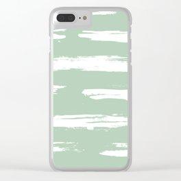 Swipe Stripe White on Pastel Cactus Green Clear iPhone Case