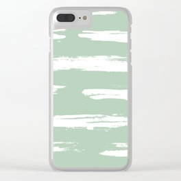 Swipe Stripe White on Pastel Cactus Green Clear iPhone Case