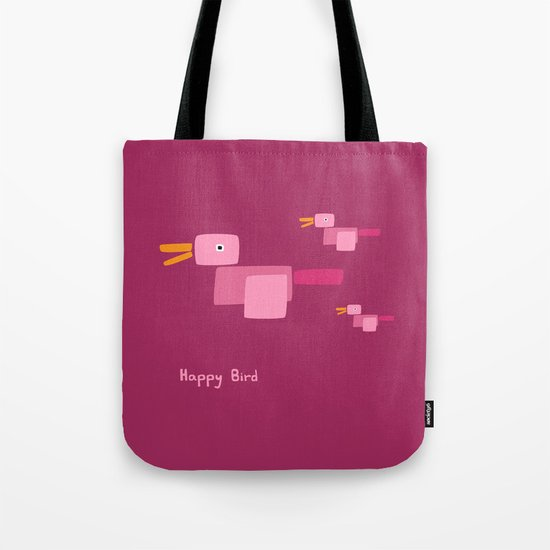 Happy Bird-Pink Tote Bag