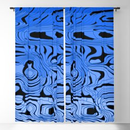 Striped interweaving of blue spots from bright flowing lava and dark horizontal spots. Blackout Curtain