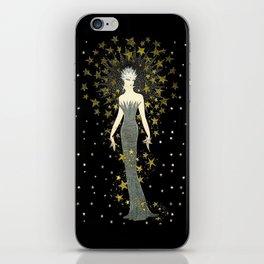 "Art Deco Sepia Illustration ""Star Studded Glamor"" iPhone Skin"