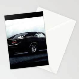 CLASSIC MUSCLE CAR DODGE CHARGER IN BLACK DURING FOG Stationery Cards