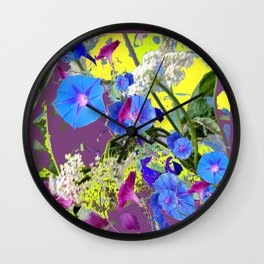 Decorative Puce  Color Blue Morning Glories  Art Design Wall Clock