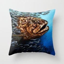 Massive Goliath Grouper Saltwater Fish by Sonya Allen Throw Pillow