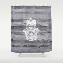 White hand drawn Hamsa hand of fatima on wood  Shower Curtain