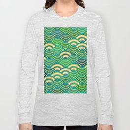 abstract scales simple Spring Nature background with japanese circle Long Sleeve T-shirt