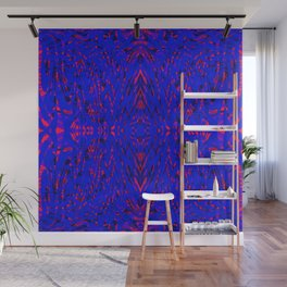 blue on red symmetry Wall Mural