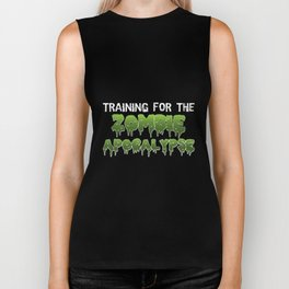 Training For The Zombie Apocalypse   Funny Exercise Gym Clothing Biker Tank