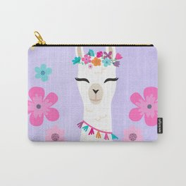 Let's Be Fabulous - Purple Cute Alpaca - Llama with Flowers Carry-All Pouch