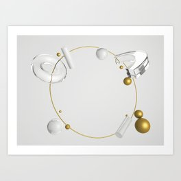 Abstract composition of geometric primitives in gold, glass and silver colors Art Print