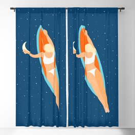 Moon Surfing, Eclectic Colorful Painting, Woman Ocean Starry Night Swim Surf Illustration Blackout Curtain