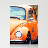 volkswagon Stationery Cards featuring Peace Bug in Color by Dena Brender Photography