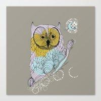 scandinavian Canvas Prints featuring Scandinavian owl by CASTELBARCO DESIGN