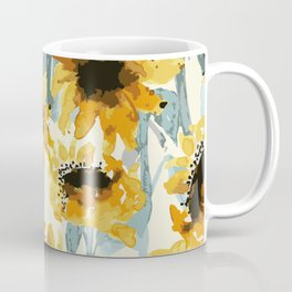 Sunflower Watercolor //Sunflower Field// Sunflower Yellow/Light Coffee Mug