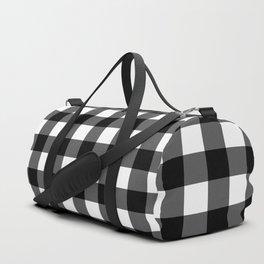 Plaid (Black & White Pattern) Duffle Bag