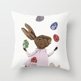 Hare-y Adventures Throw Pillow