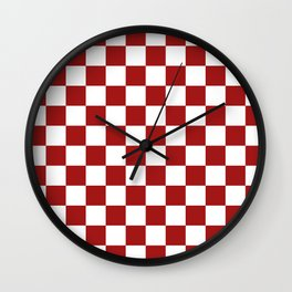 Cranberry Red and White Checkerboard Pattern Wall Clock