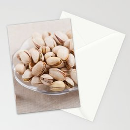 open pistachio nuts in shell Stationery Cards