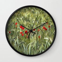 Cornfield Poppy Landscape Wall Clock