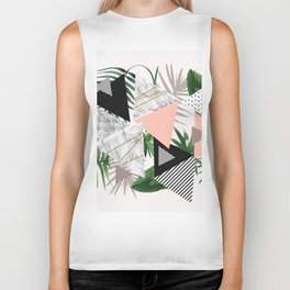 Abstract of geometric patterns with plants and marble Biker Tank