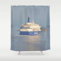 oslo Shower Curtains featuring Copenhagen To Oslo Ferry by Malcolm Snook