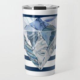 Navy & White Horizontal Stripes & Marble Diamond Travel Mug