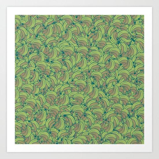 Plenty of Bananas - Green Art Print