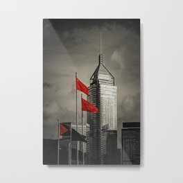 Red flags Tower Metal Print