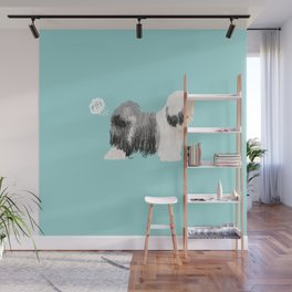 tibetan terrier funny farting dog breed pure breed pet gifts Wall Mural