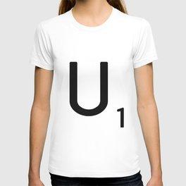 Letter U - Custom Scrabble Letter Tile Art - Scrabble U Initial T-shirt